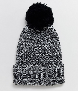 White and Black Knit Beanie