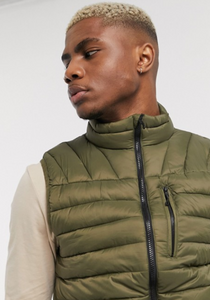 Army Green Padded Zip-Up Vest