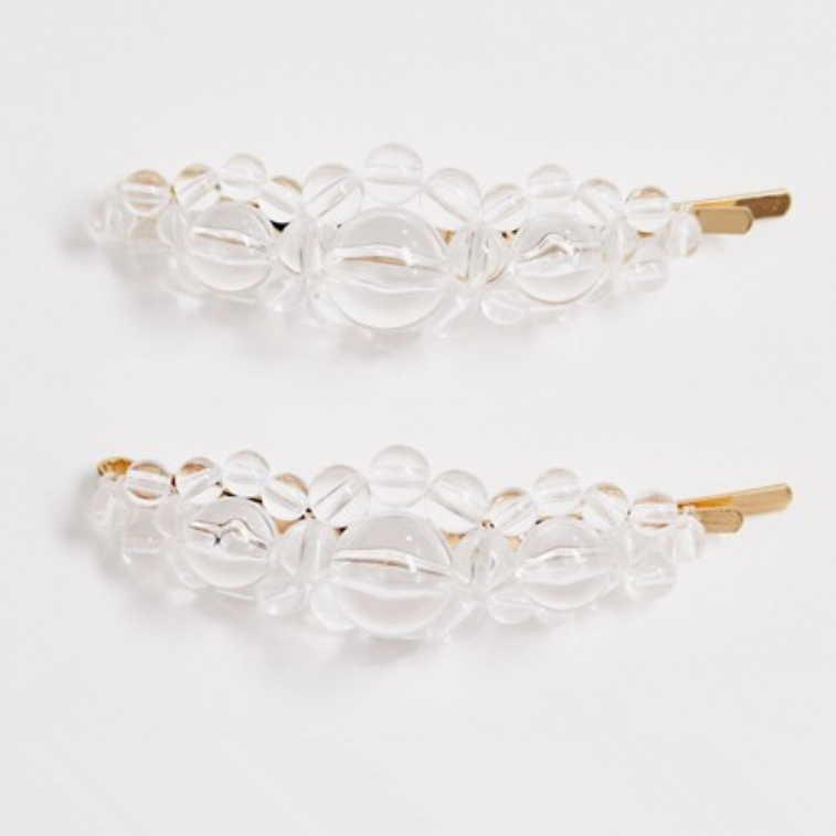 Gold-Tone Hairclips with Clear Beads 2-Pack