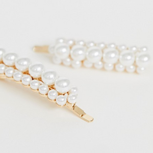 Oversized Faux Pearl Hairclips 2-Pack