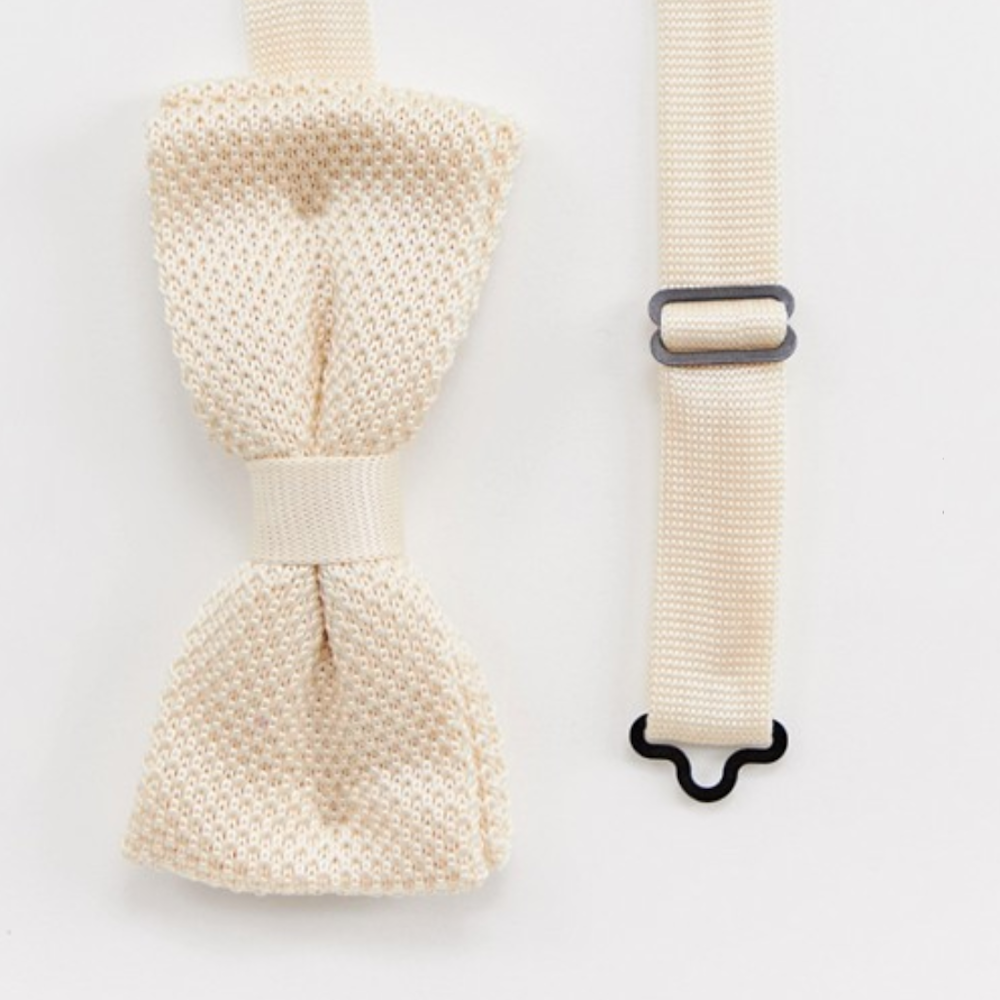 Cream Knitted Bow Tie