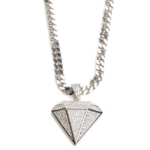 Load image into Gallery viewer, Diamond Shaped Pendant with Silver-Tone Chain