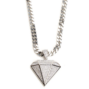Diamond Shaped Pendant with Silver-Tone Chain