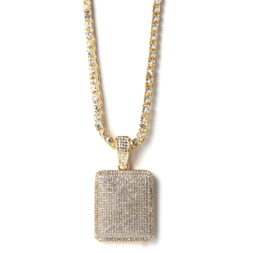 Square Pendant with Gold-Tone Chain