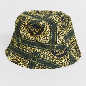 Chain and Leopard Print Bucket Hat