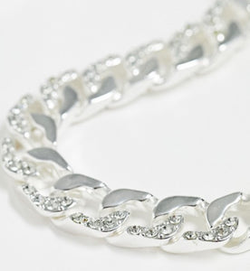 Silver-Tone Chain with Crystal Detail