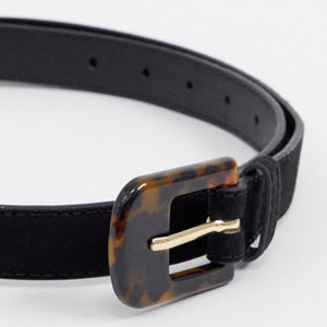 Turtle Shell Buckle Black Belt