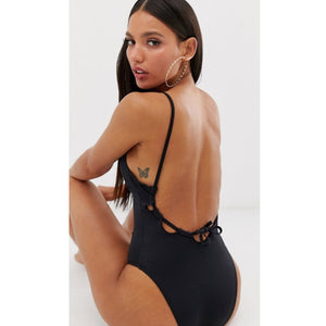 Plunge Neck Open Back Black Tall Swimsuit