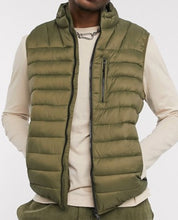 Load image into Gallery viewer, Army Green Padded Zip-Up Vest