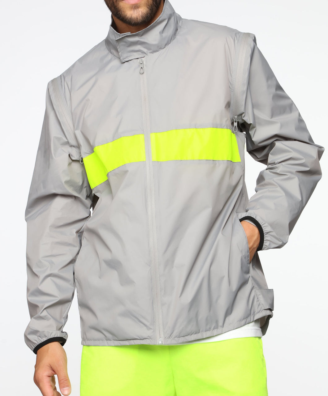 Reflective Jacket with Detachable Sleeves
