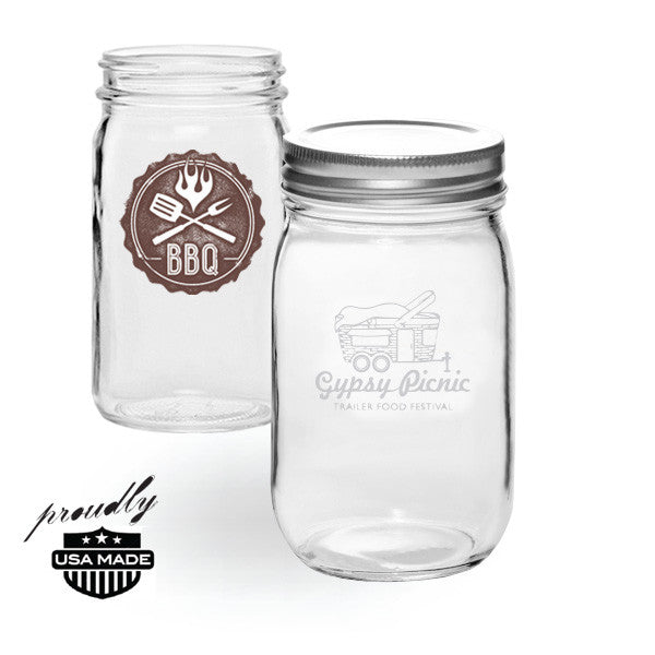 custom imprinted glass mason jar tumbler with lid