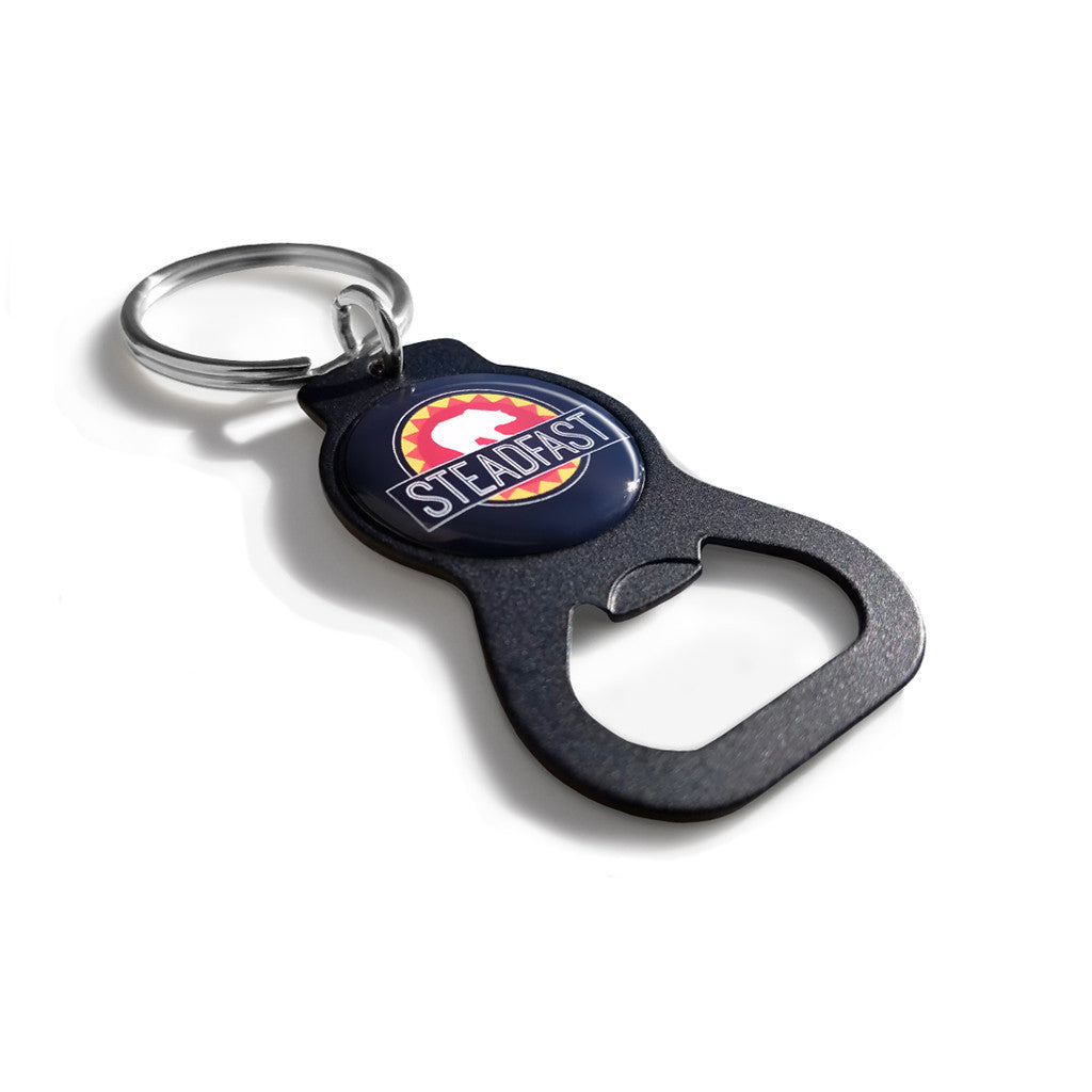 matte black custom printed bottle opener keychain