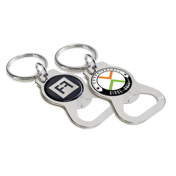 custom printed bottle opener keychain classic chrome stainless steel. Black Bedroom Furniture Sets. Home Design Ideas
