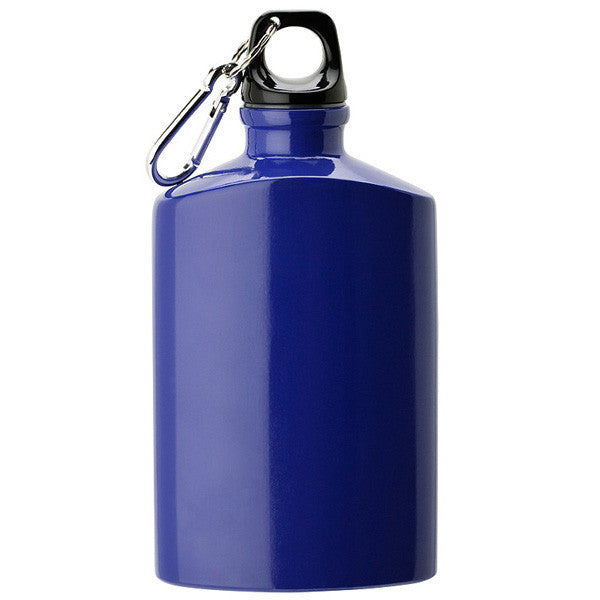 cobalt blue promotional custom printed canteen with carabiner