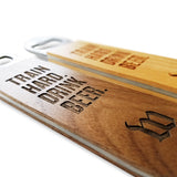 custom engraved wooden paddle bottle openers