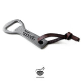 custom raw metal wrench bottle opener with leather cord usa made