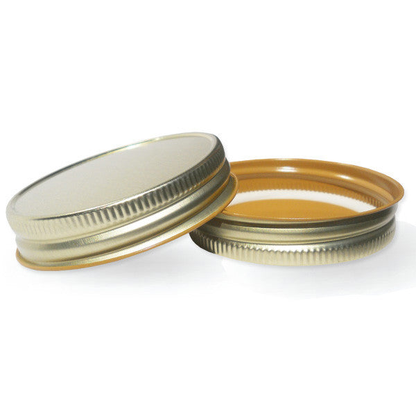 metallic mason jar lids shiny gold