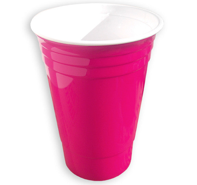 pink custom printed SOLO® style insulated party cup