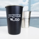 matte black custom branded stainless steel pint cup