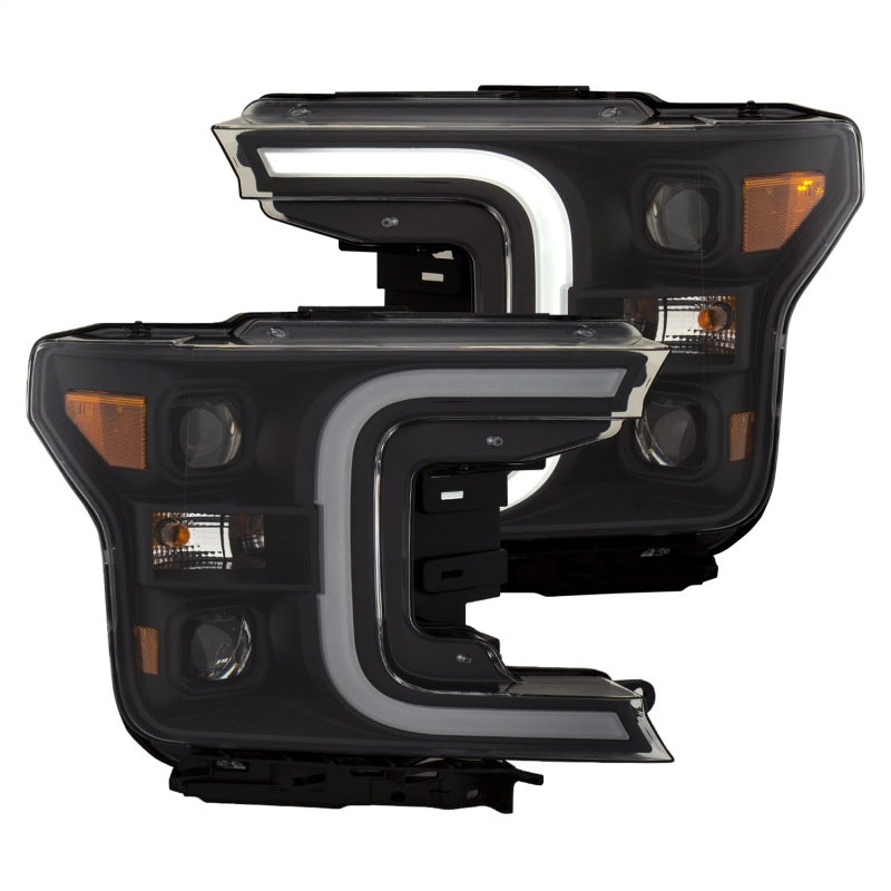 ANZO 18-19 Ford F-150 LED Projector Headlights w/ Plank Style Switchback Black w/ Amber