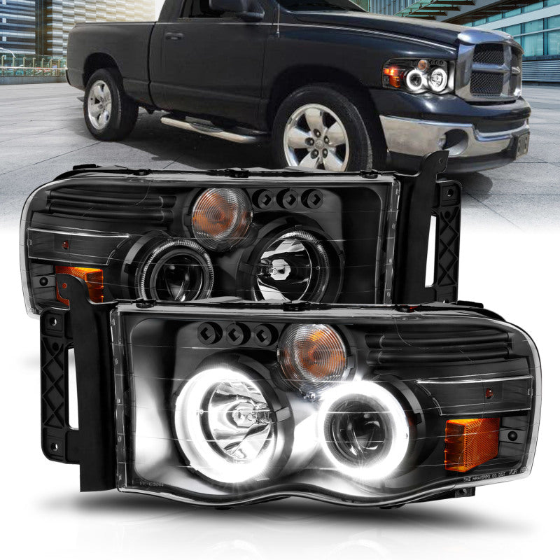 ANZO 2002-2005 Dodge Ram 1500 Projector Headlights w/ Halo Black Clear Amber - ParkerPerformance