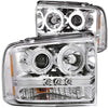 ANZO 2005-2007 Ford Excursion Projector Headlights w/ Halo Chrome w/ LED Strip (CCFL) 1pc