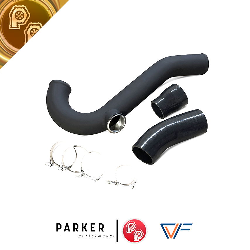 CVFAB Hot-side Aluminum Intercooler Pipe with TiAL Flange (2015+ Ford Mustang EcoBoost) - ParkerPerformance