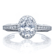 Load image into Gallery viewer, Platinum Oval Cut Diamond Halo Engagement Ring