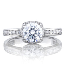 Load image into Gallery viewer, White Gold Round Diamond With Cushion Halo Engagement Ring