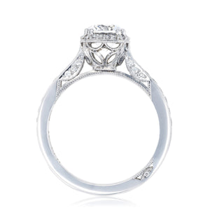 White Gold Round Diamond With Cushion Halo Engagement Ring