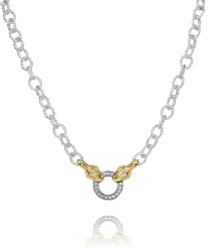 Yellow Gold and Sterling Silver Diamond Necklace