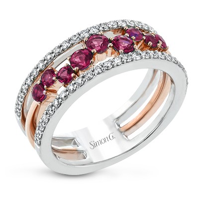 White and Rose Gold Diamond and Ruby Ring