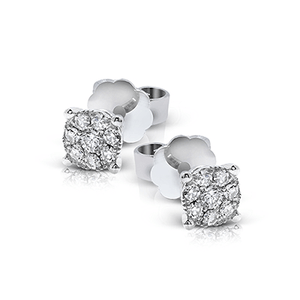 18K White Gold Diamond Stud Earrings