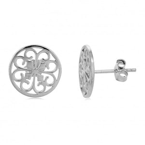 Southern Gates Heart Scroll Stud Earrings