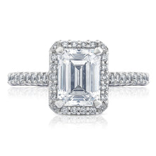 Load image into Gallery viewer, White Gold Emerald Cut Diamond Halo Engagement Ring