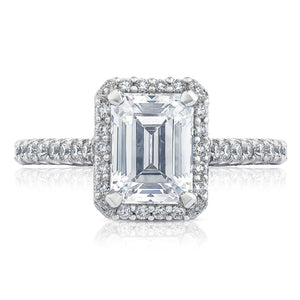 White Gold Emerald Cut Diamond Halo Engagement Ring