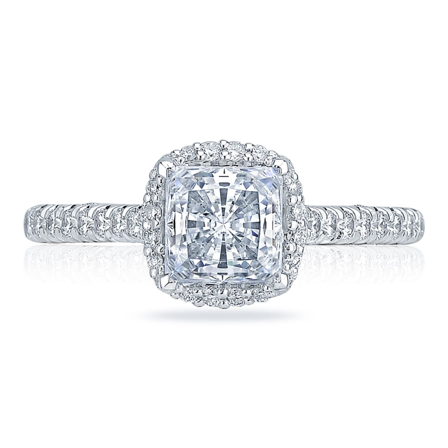 White Gold Princess Diamond Halo Engagement Ring