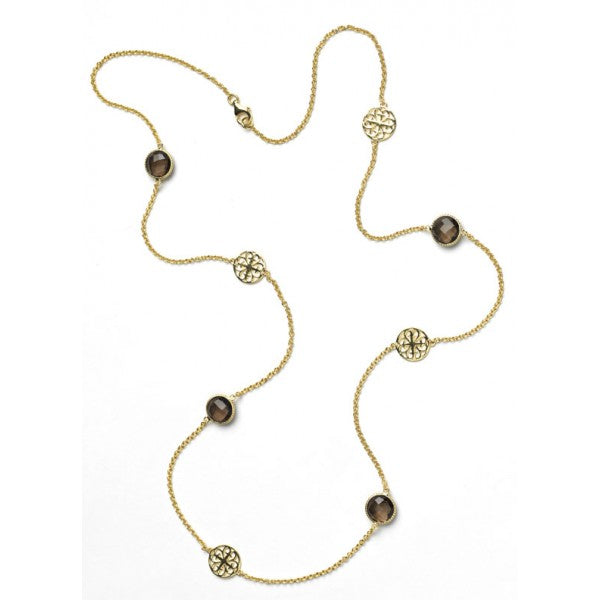 Southern Gates Gold Plated Smoky Quartz Necklace