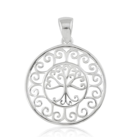 Southern Gates Scroll Framed Round Oak Tree Pendant