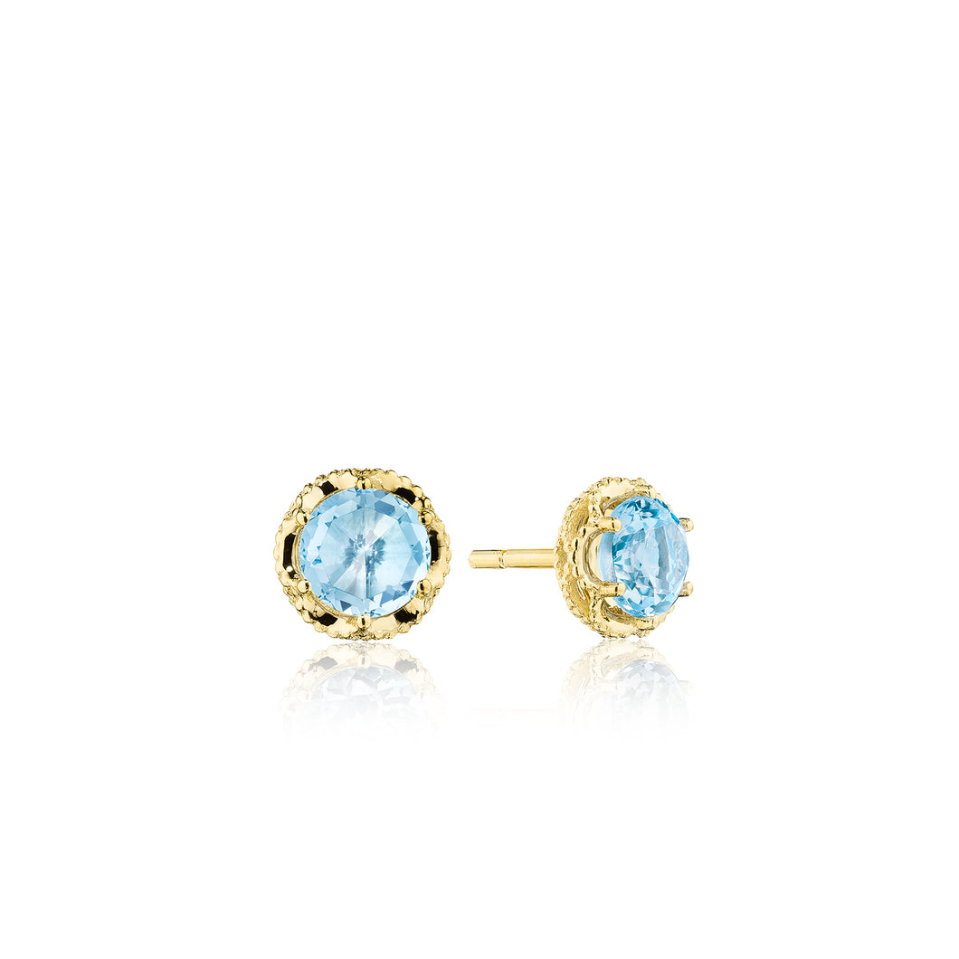 Petite Crescent Crown Studs featuring Sky Blue Topaz and Yellow Gold