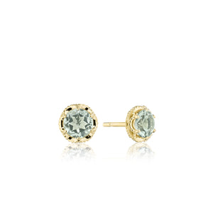 Petite Crescent Crown Studs featuring Prasiolite and Yellow Gold