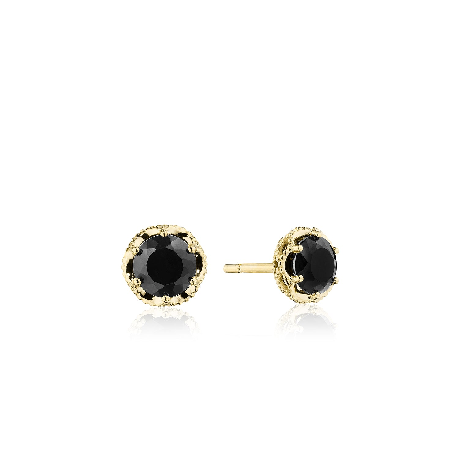 Petite Crescent Crown Studs featuring Black Onyx and Yellow Gold
