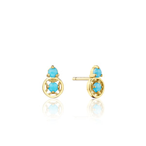 Petite Gemstone Earrings with Turquoise