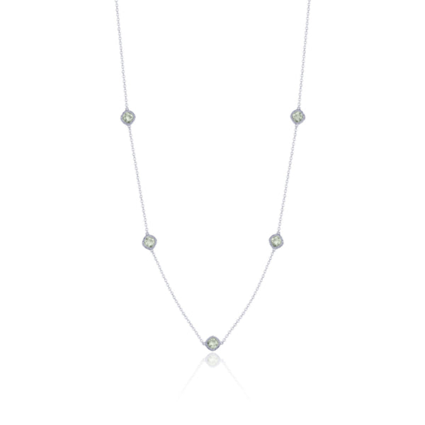 Sterling Silver 5-Station Green Amethyst Necklace