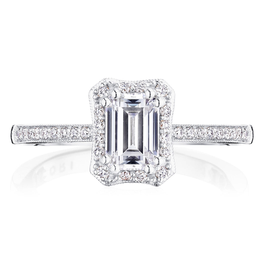 White Gold Emerald Cut Diamond Engagement Ring