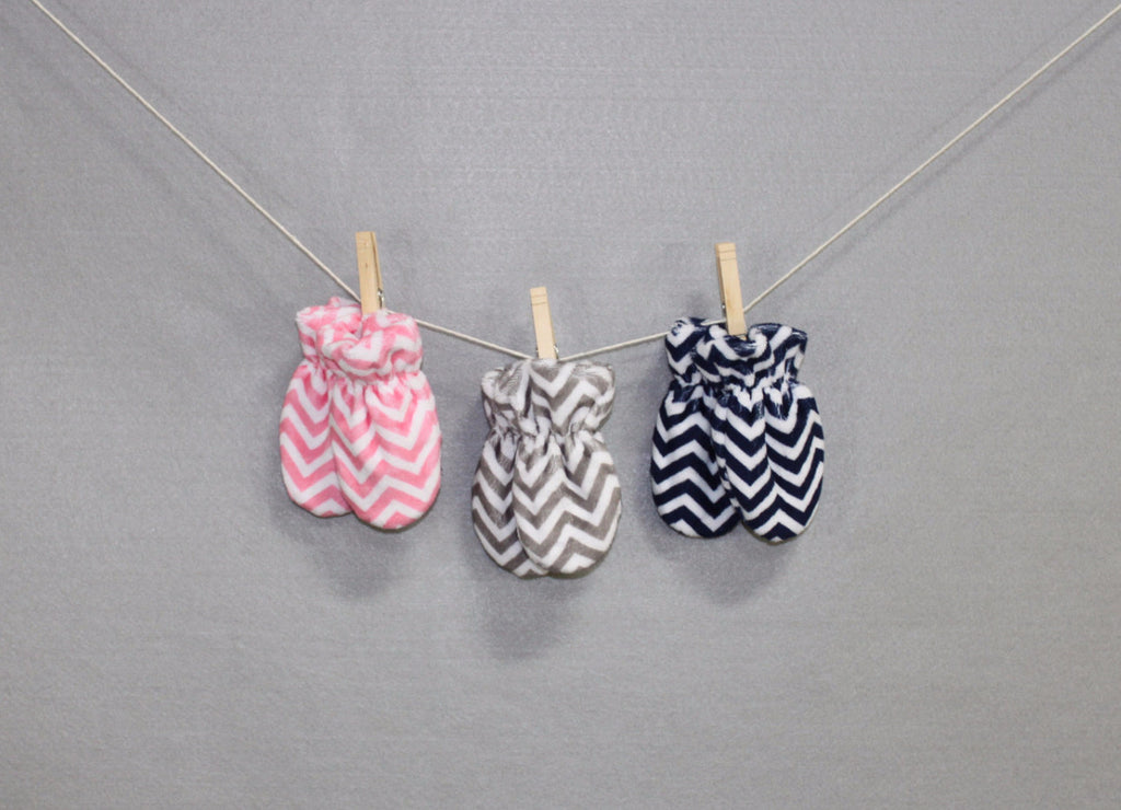 Minky Chenille Mini Chevron Infant Mittens
