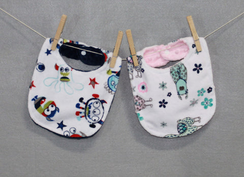 Minky Chenille Colorful Characters Bib