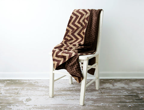 Minky Chenille Standard Chevron Throw