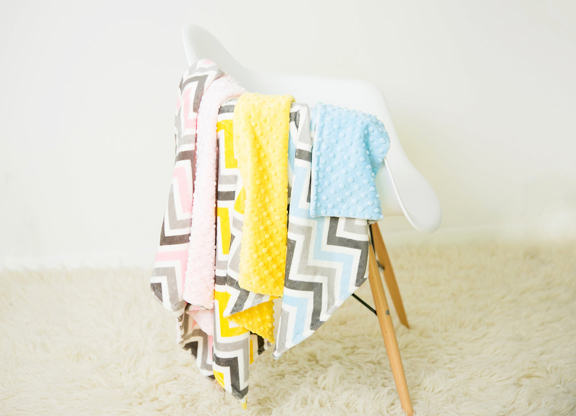 Minky Chenille Chevron Toddler Blanket