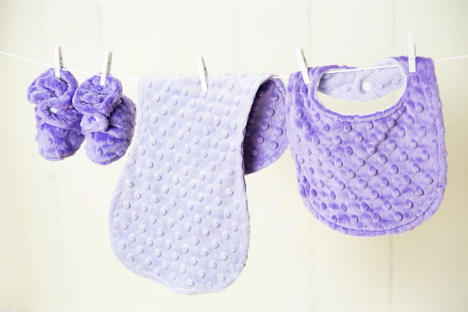 Minky Chenille Infant Booties, Burpie and Bib